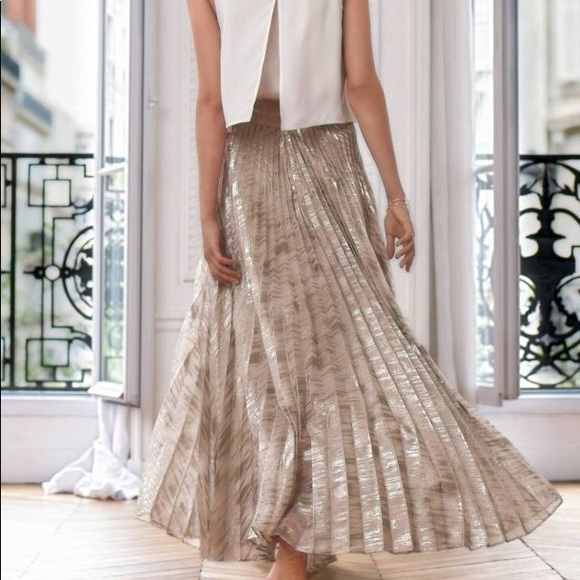 Anthropologie Skirts Moulinette Soeurs Gold Pleated Maxi Skirt